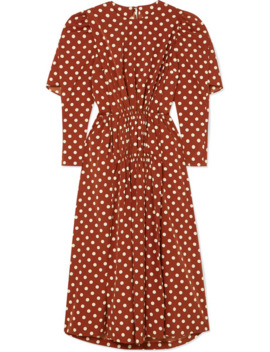 Cape Effect Polka Dot Pleated Crepe De Chine Midi Dress by Pushbutton