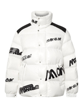 2 Moncler 1952 Quilted Logo Print Glossed Shell Down Jacket by Moncler Genius