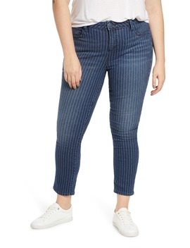 High Waist Pinstripe Ankle Jeans by Slink Jeans