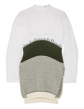 Cotton Organza And Striped Wool Sweater by Loewe