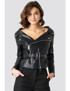 Off The Shoulder Pu Biker Jacket Schwarz by Na Kd Trend