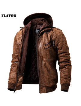 Men's Real Leather Jacket Men Motorcycle Removable Hood Winter Coat Men Warm Genuine Leather Jackets by Ali Express.Com