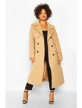 Plus Tailored Self Belted Longline Coat by Boohoo