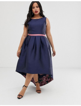 Chi Chi London Plus Satin Midi Prom Dress With High Low Hem In Print by Chi Chi London