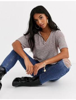 Asos Design Petite T Shirt With Short Sleeve In Textured Stripe With V Front by Asos Design