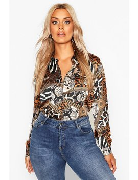 Plus Mixed Animal Woven Shirt by Boohoo