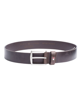 Denton Flag Logo Leather Belt by Tommy Hilfiger