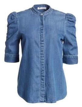Joanie Shirred Sleeve Chambray Shirt by Frame