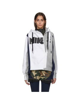 White & Grey Sacai Edition Nrg Ni 06 Hoodie by Nike