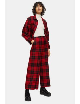 **Red Check Cropped Trousers By Topshop Boutique by Topshop