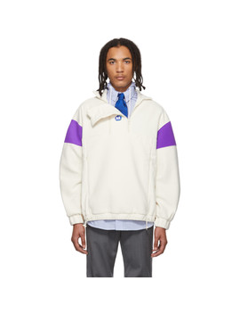 Off White & Purple Fleece Pullover by Ader Error