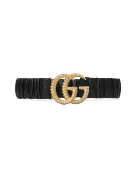 Double G Buckle Stretch Leather Belt by Gucci