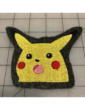 Pokemon Inspired Shocked Or Surprised Pikachu Embroidery Sew On Patch by Etsy