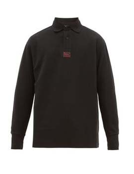 Logo Patch Long Sleeved Cotton Piqué Polo Shirt by Raf Simons