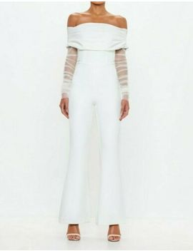 Missguided Peace+Love White Bardot Flare Leg Jumpsuit Uk 8 Us 4 Eu 36 (Camg172) by Missguided