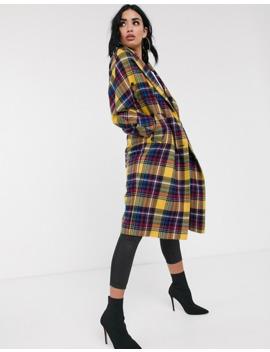 Helene Berman Oversized Check Coat In Wool Blend by Asos
