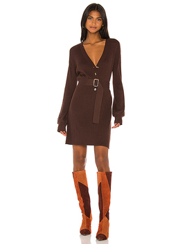 Darcey Sweater Dress In Chocolate by Song Of Style