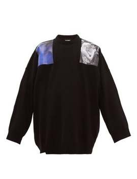 Oversized Print Patch Wool Sweater by Raf Simons