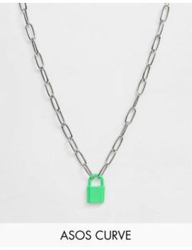 Asos Design Curve – Silberfarbige Halskette Mit Farbigem Schloss by Asos
