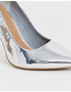 Asos Design Porto Pointed High Heeled Court Shoes In Silver by Asos Design
