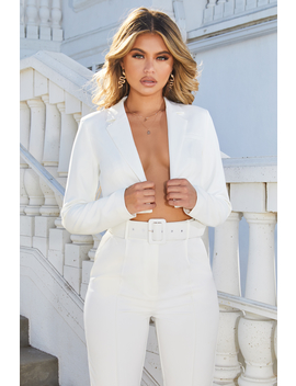 Bossy Cropped Blazer Jacket In Oyster White by Oh Polly