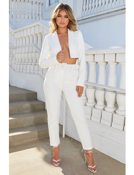 Bossy High Waisted Trousers In Oyster White by Oh Polly