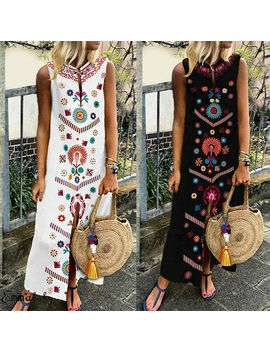 Large Size Women Sleeveless Boho Cotton Casual Linen Kaftan Maxi Dress Ladies Long Dresses Plus Szie S 5 Xl by Ali Express.Com