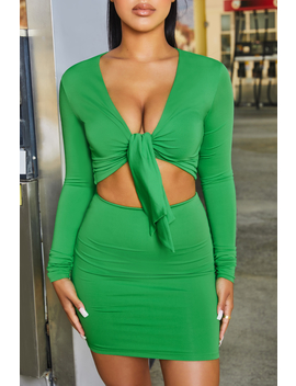 Tie 'Em Down High Waisted Bodycon Mini Skirt In Bright Green by Oh Polly