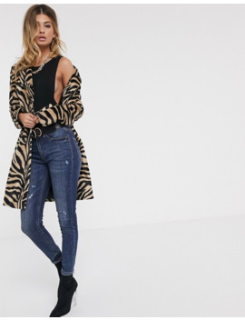 Helene Berman Faux Hair Coat In Zebra by Asos