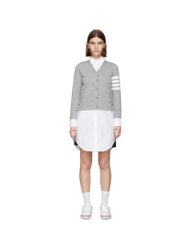 Grey Trompe L'oeil Cardigan Shirt Dress by Thom Browne