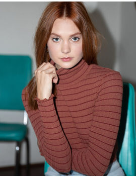 Ivy & Main Stripe Rust Womens Turtleneck Top by Tilly's