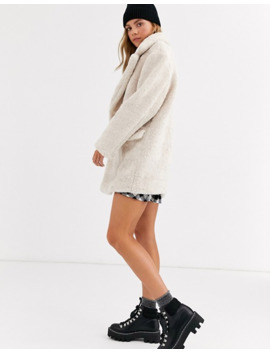Pull&Bear Single Lapel Faux Fur Coat In Cream by Pull&Bear