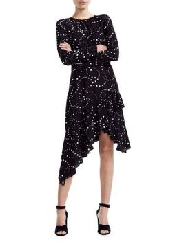 Retoile Star Print Asymmetrical Midi Dress by Maje