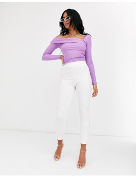 Asos Design   Top Asymétrique Côtelé   Violet by Asos Design