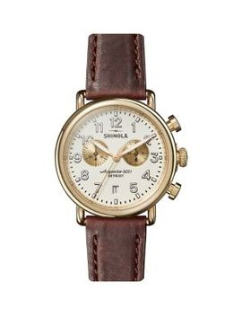 Runwell Chronograph Stainless Steel & Leather Strap Watch by Shinola