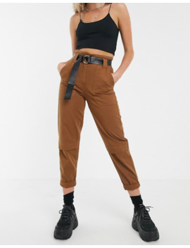 Bershka Belted Pants In Brown by Bershka