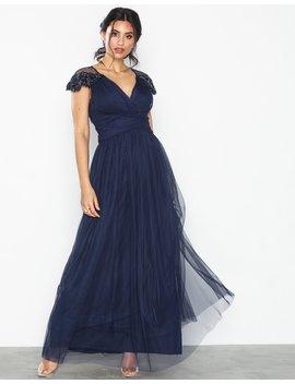 Maxi Mesh Trim Dress by Little Mistress