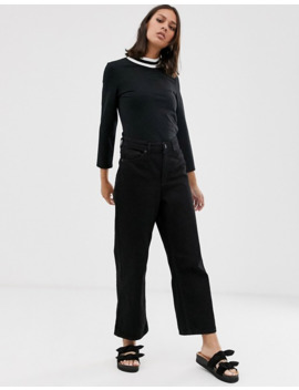 Monki High Neck Top With Contrast Ringer by Monki