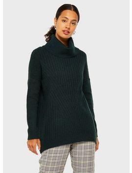 Dark Green Longline Soft Roll Neck Knitted Jumper by Miss Selfridge
