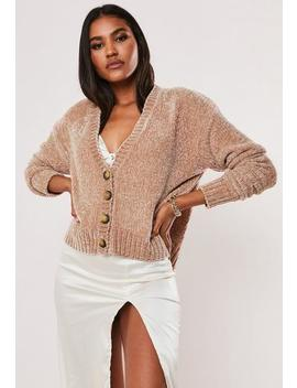 Rose Chenille Horn Button Knitted Cardigan by Missguided