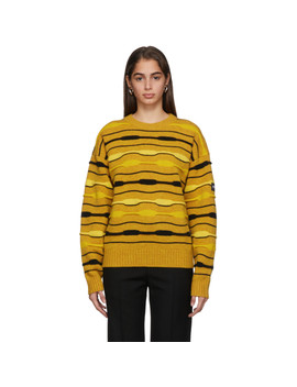 Yellow Striped Knit Crewneck Sweater by Napa By Martine Rose