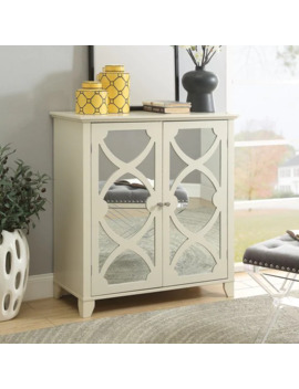 Winnie Cream Large Cabinet With Mirrored Door by Linon