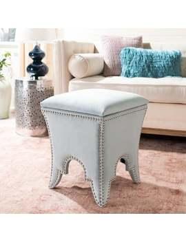 Safavieh Deidra Storage Silver Sage Cotton Ottoman by Safavieh