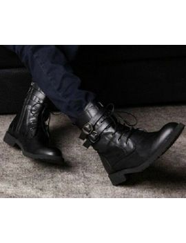 New Men Handmade Military Boots, Men Combat Shoes High Ankle Pure Leather Boots by Ebay Seller