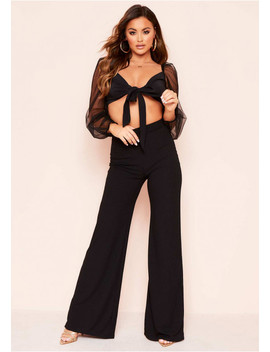 Harper Black Ribbed Wide Leg Trousers by Missy Empire