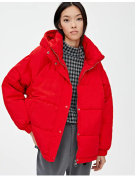 Red Hooded Puffer Jacket by Pull & Bear