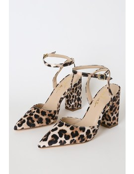 Viki Leopard Pointed Toe Ankle Strap Pumps by Lulus