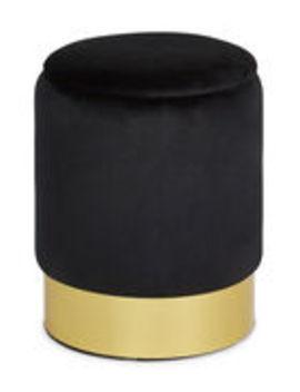 Black Storage Vanity Stool by Jay Import