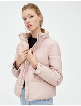 Pink Rubberised Puffer Jacket by Pull & Bear