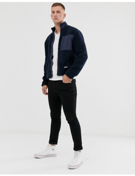 Original Penguin Borg Full Zip Icon Logo Jacket In Navy by Original Penguin